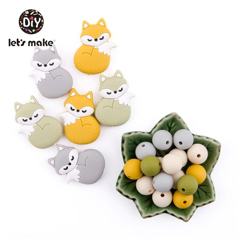 Купить с кэшбэком Let's Make Silicone Beads Teething Cartoon Fox Bead Animals 5pcs DIY Pacifier Clip For Children Newborn Baby Teething Toys
