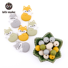 Silicone Beads Of Fox Cute Cartoon Animals Teethers 50pc BPA Free Food Grade Teether For Newborn Teething Baby