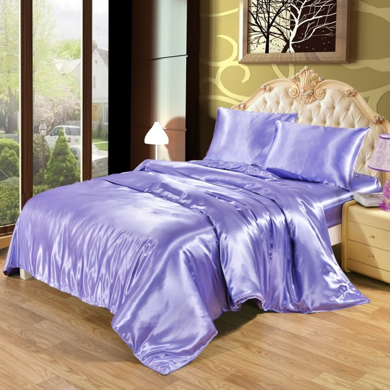 Soft Bedding Fitted Sheet Luxury satin fitted sheet Bedding Luxurious Ultra Soft Silky Satin Bed Sheet 2/3 Pcs /Set