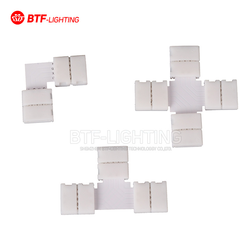 10PCS~1000PCS 10mm 4PIN corner Connector T/L/X shape solderless connector For 5050/3528 RGB led strip No soldering 10pcs 10mm 3 pin l shape led strip pcb connector adapter and 20pcs 3pin connector 4 ws2812b ws2811 sk6812 led strip no soldering page 1