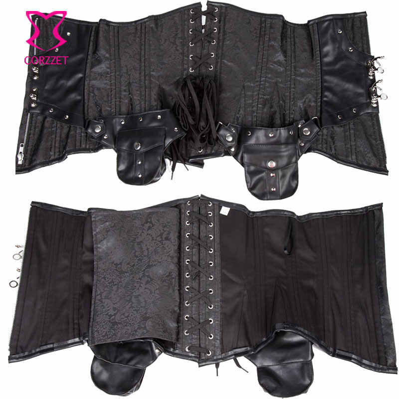 Punk Black Brocade and Leather Steampunk Underbust Corset Sexy Corselet Steel Boned Corsets and Bustiers XXXL Gothic Clothing