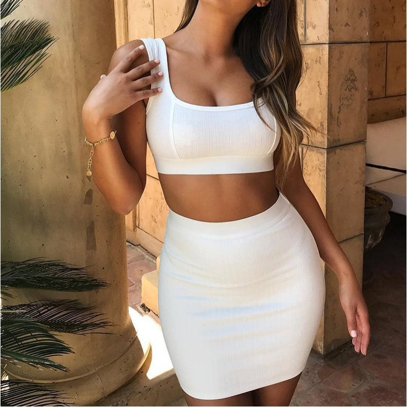 <font><b>Sexy</b></font> ribbed tank crop top and skirt two piece set Matching sets <font><b>ensemble</b></font> <font><b>femme</b></font> Casual white,pink outfit Summer clothes for women image