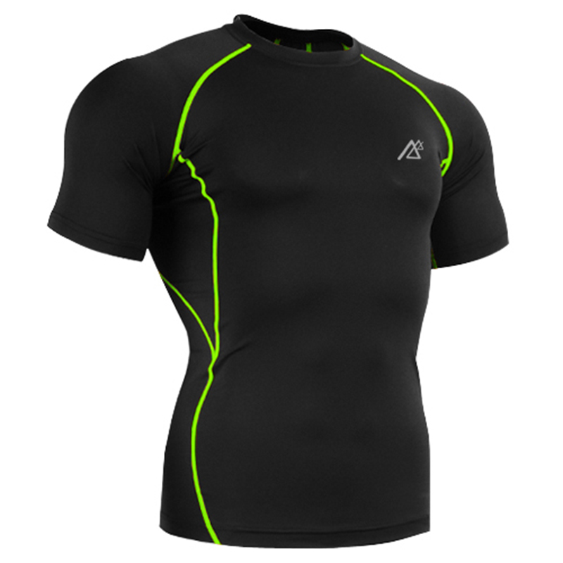 Black Color 4-Way Stretch Green Line Short Sleeve Tops Tees Mens Tshirt Competitive Price! New Sport Fitness MMA Base Layer