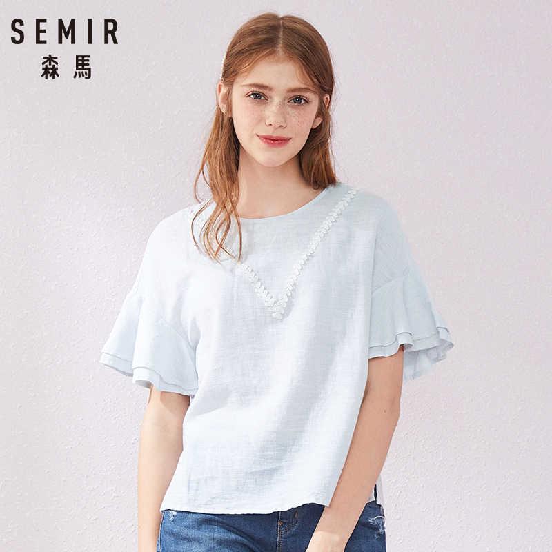 SEMIR new fashion women printed vintage blouse shirts female high street criss-cross o neck blouses tops shirt