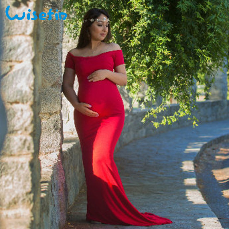 Wisefin Maternity Gown Women Pregnancy Dress Clothes Off Shoulder Pregnant Maxi Dress Ph ...