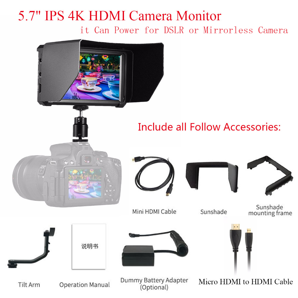 Feelworld F6 5.7 IPS 4K HDMI Camera Monitor + 2pcs Cables,for all DSLR Camera Video,it Can Power for DSLR or Mirrorless Camera