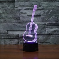 7 Color Changing Creative 3D Visual Lights Ukulele Guitar Model Illusion Lamp LED Novelty Bedroom Night