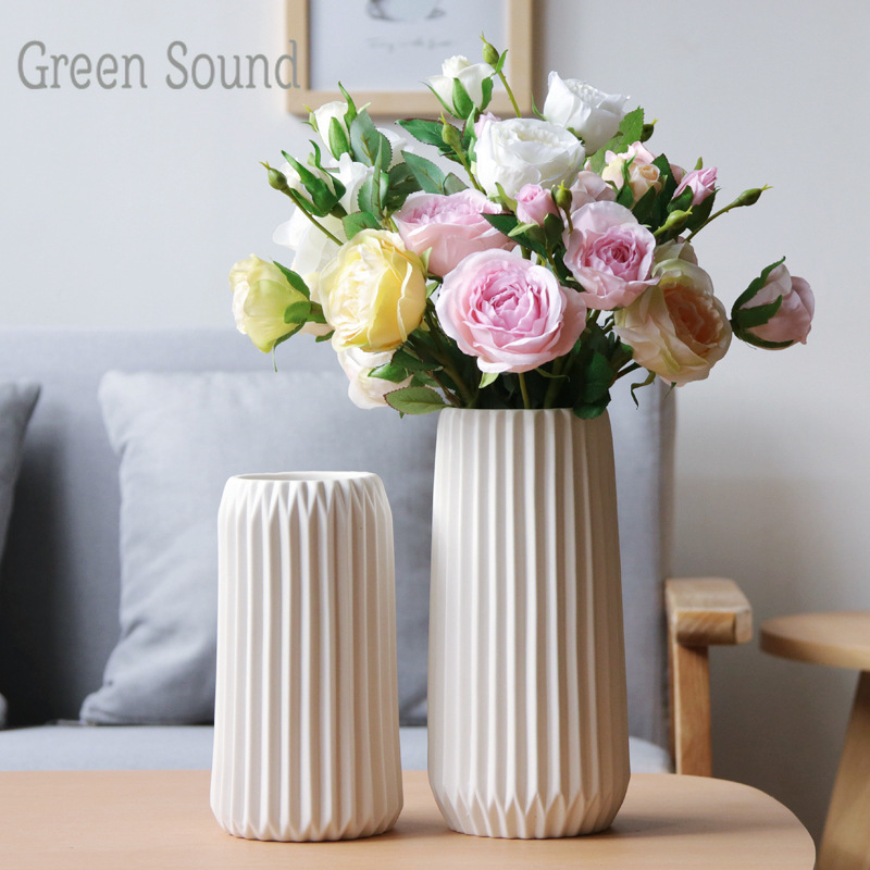 Green Sound Simple Creative Striped Flower Vase White Home Origami Ceramic Vase Decoration Ornaments Flower Arrangement