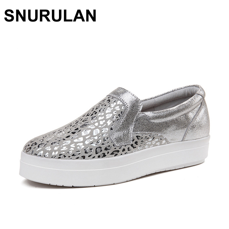 SNURULAN  Women Sneakers Platform Flats Loafers Shoes Bling Leopard Leather Slip on Casual White Sole Ladies Shoes silvery Black 2017 summer new fashion sexy lace ladies flats shoes womens pointed toe shallow flats shoes black slip on casual loafers t033109