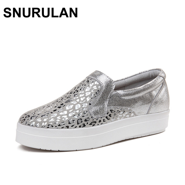 SNURULAN Women Sneakers Platform Flats Loafers Shoes Bling Leopard Leather  Slip on Casual White Sole Ladies Shoes silvery Black 1587fc1f1d4e