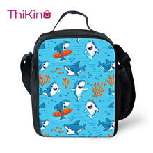 Thikin Shark Cartoon Cooler Lunch Box Portable Insulated Bag Tote PouchThermal Food Picnic Bags For Women Kids