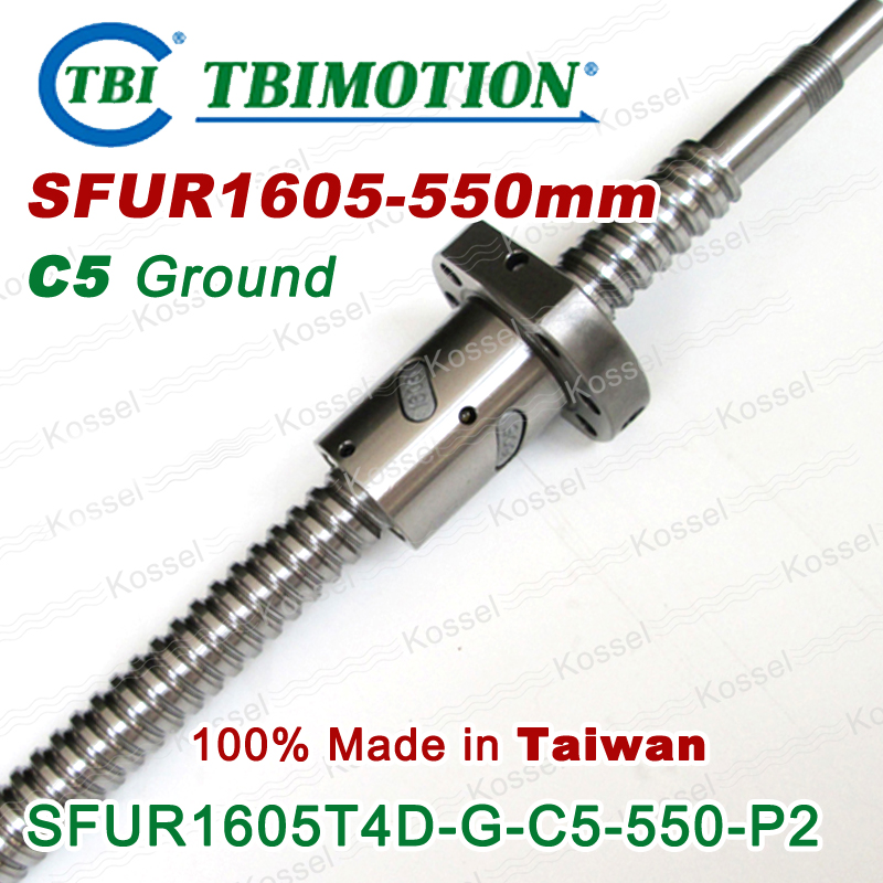 TBI SFUR1605T4DGC5 1605 C5 550mm ball screw 5mm lead with SFU1605 ballnut + end machined for CNC diy kit set tbi 1605 c3 400mm ball screw 5mm lead with sfu1605 ballnut ground for high precision cnc diy kit of taiwan