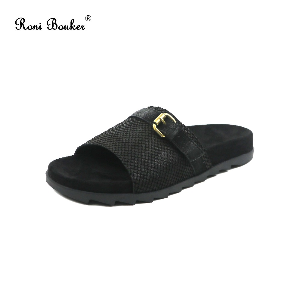 Roni Bouker 2018 New Summer Wholesale Dropship Genuine Leather Lady Buckle Slip on Shoes Women Open-Toe Slippers Flat Sandals цены онлайн