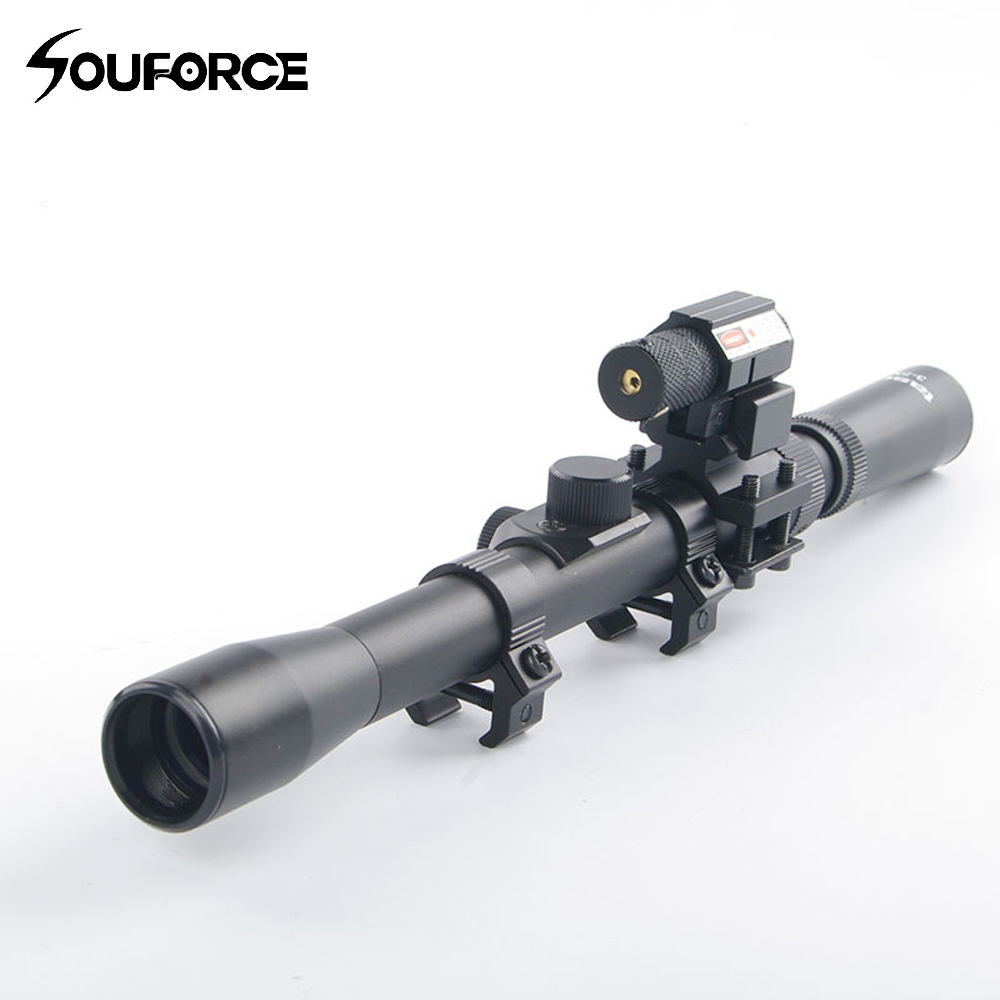 New Tactical 3-7X20 Air Gun Rifle Optics Cross Reticle Scope With 11mm Rail Mounts Red Dot Laser Sight For Hunting Crossbow