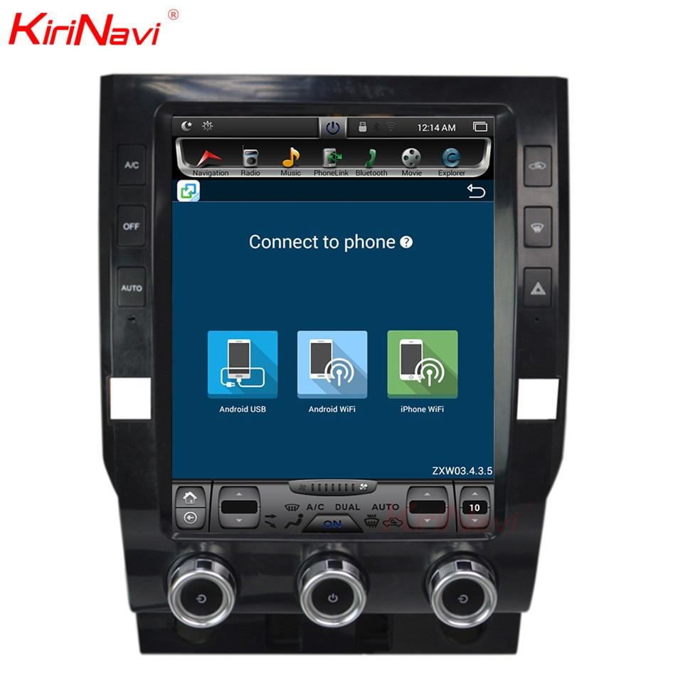 KiriNavi écran Vertical Tesla Style 12.1 pouces android 6.0 lecteur DVD de voiture pour Toyota Tundra système de radionavigation 2014-2018