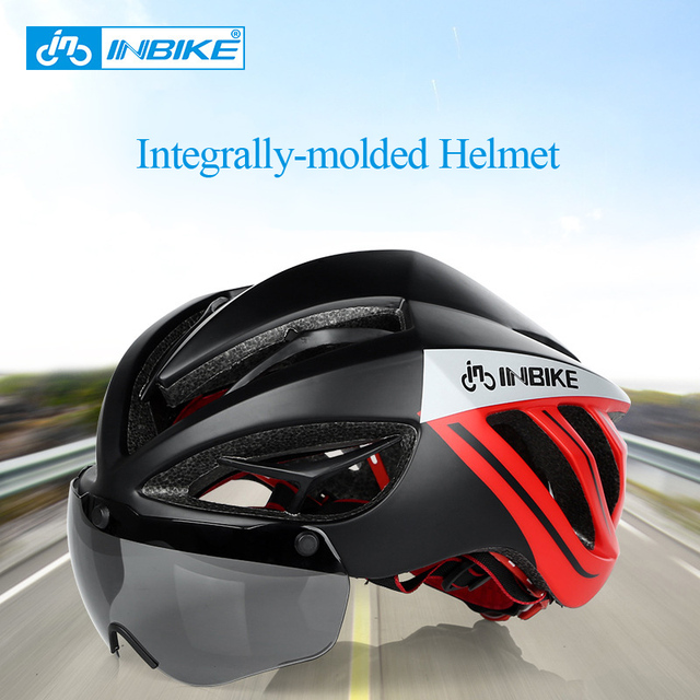 US $54 56 |INBIKE Integrally molded 3D Bicycle Helmet with Magnetic Lenses  for Men 19 Vents Mountain Road MTB Casco Ciclismo Bicycle Helmet-in Bicycle