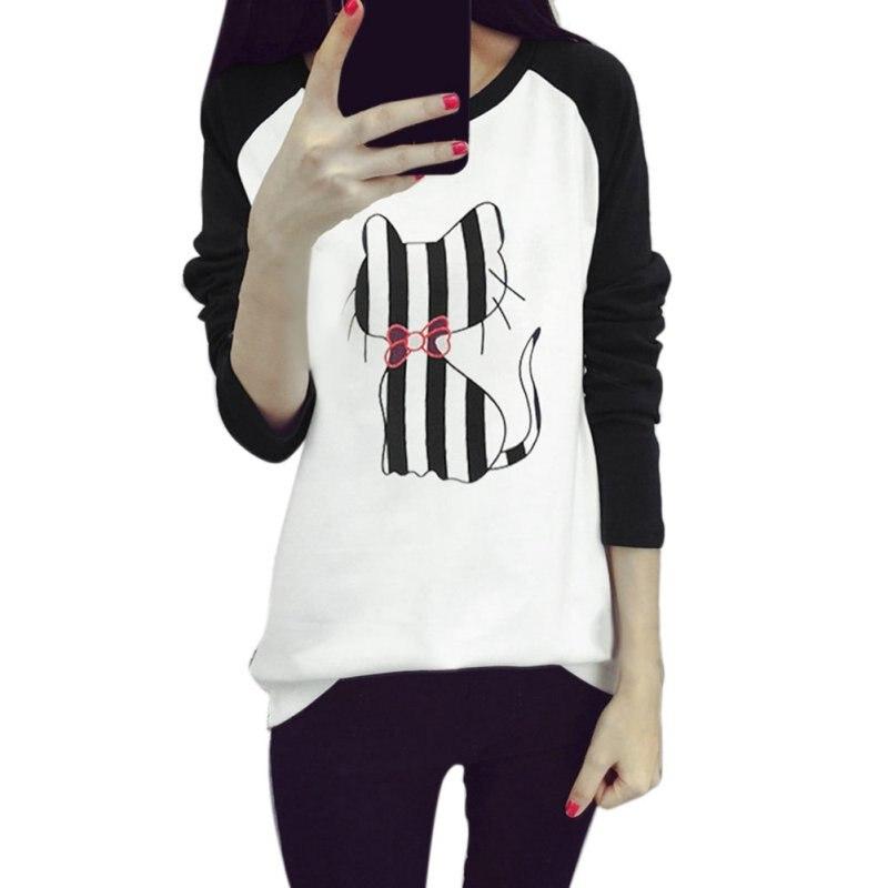 Korean College Wind Women Hoodies  Fashion Cartoon Cat Sweatshirt Loose Printed Mixed Color Harajuku Hoodie Female Sudaderas