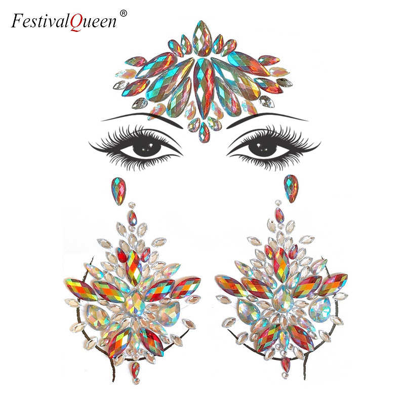 f5584dde8a Adhesive Face Gems Jewelry Temporary Breast Jewels Stickers Bra Cover Party  Body Rhinestone Sequins Flash Body Make Up Sticker