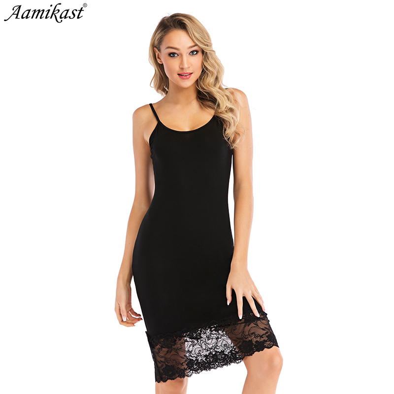 Aamikast Women Strappy Sleepwear Lace V-Neck Nightgown Trim Chemise Nightgown Slip Lingerie Dress Summmer Sexy Female Sleepshirt