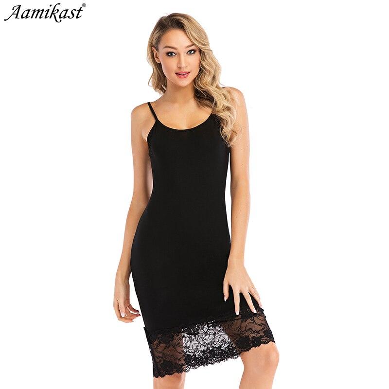 Aamikast femmes à bretelles vêtements de nuit en dentelle col en v Chemise de nuit garniture Chemise de nuit Slip Lingerie robe Summmer Sexy femme Chemise de nuit