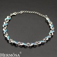 Modern 8 Design 12Pcs Blue Fire Australian Opal 925 Sterling Silver Chain Links Bracelet 7 9 Inch Fashion Jewelry