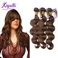 Cabelo Brasileiro Virgem Grau 8A cabelo humano bundles Onda Do Corpo estilo 3 pçs/lote #4 Luz Marrom Onda Do Corpo Do cabelo Brasileiro do cabelo Tecer feixes