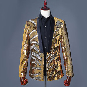 Image 4 - Mens Flipping Sequins Blazers Jackets Singer DJ Costumes Men Blue Green Paillette Suits Homme Stage Prom Dance Nightclub Outfit