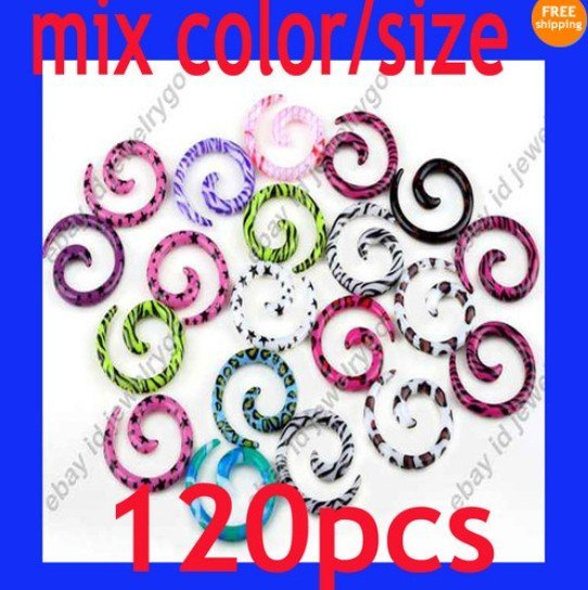 50% OFF Wholesale Lots 120pcs Acrylic Spiral Ear Taper Stretcher Plugs Expanders Kit New