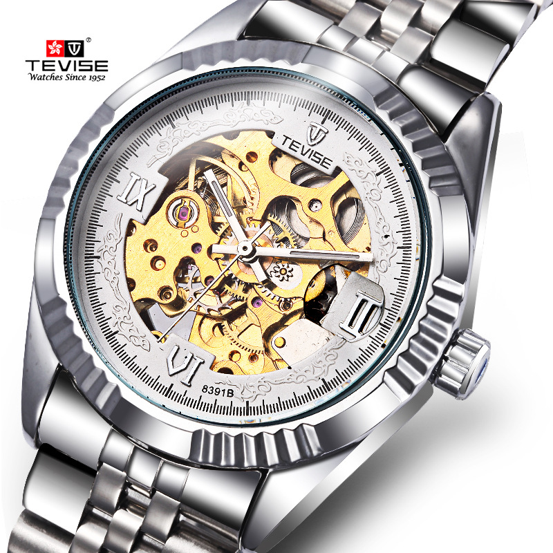 Orignal Tevise Fashion Montre Homme Men's Skeleton Automatic Mechanical Watches Gift Box Free Ship