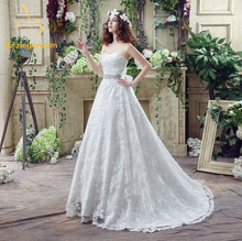 Bealegantom 2017 New Lace Wedding Dresses With Appliques Lace Up Floor-Length Bridal Gowns Robe De Mariage In Stock 2-12 QA835