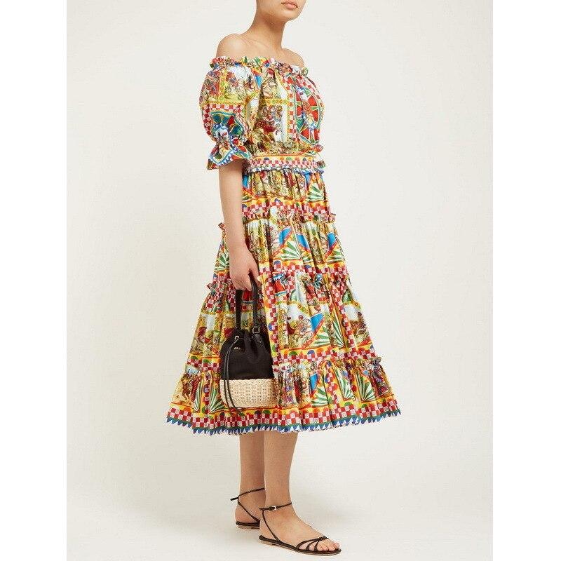 Kadın Giyim'ten Elbiseler'de Yaz 2019 Yeni Vintage Baskılı Elastik belli kapalı Omuz Kısa kollu Elbiseler 190630UL01'da  Grup 1