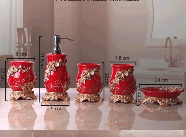 Rode Accessoires Badkamer : Vijf sets china rode badkamer producten hars bad lotion fles