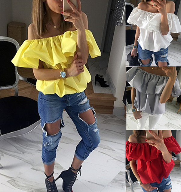 3ce1c4050fea6 Sexy Cotton Blouse Ruffle Off Shouler Plus Size Women Clothing Top Femme  Kimonos Cropped Tops Tumblr Shirt Hipster Overalls