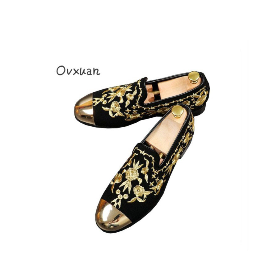 Ovxuan Luxury Gold Silk Embroidery Men Loafers Metal Sheet Toe Wedding Men Dress Shoes Fashion Moccasins Men Casual Shoes 2017 cbjsho brand men shoes 2017 new genuine leather moccasins comfortable men loafers luxury men s flats men casual shoes