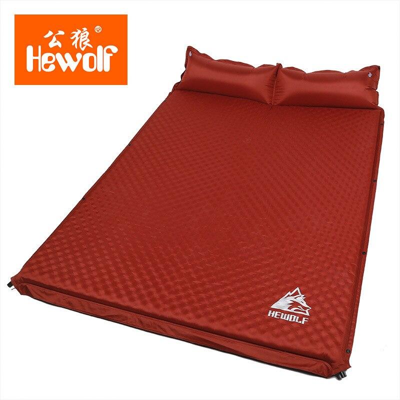 HEWOLF al aire libre 5 cm de espesor inflable automático cojín al aire libre tienda de campaña de doble inflable colchón de la cama 2 colores - 5