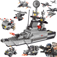 QUNLONG Military 8in1 829pcs 8 Figures Building Blocks Compatible legoed Tank Warship Army War Toys for Children Constructor Set