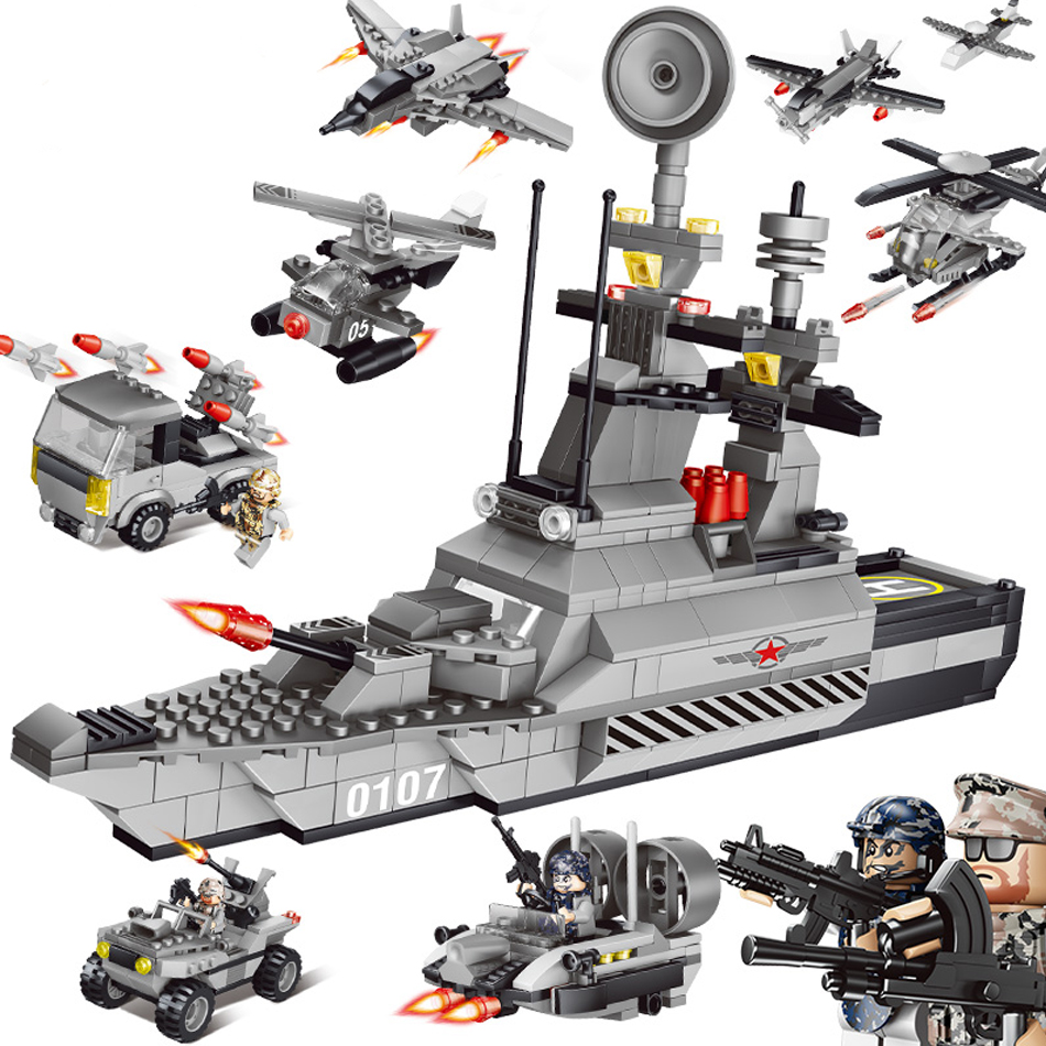 QUNLONG Military 8in1 829pcs 8 Figures Building Blocks Compatible legoed Tank Warship Army War Toys for Children Constructor Set large military 8 in1 747pcs 8 figures building blocks tank warship army war toys for children constructor set compatible lepin