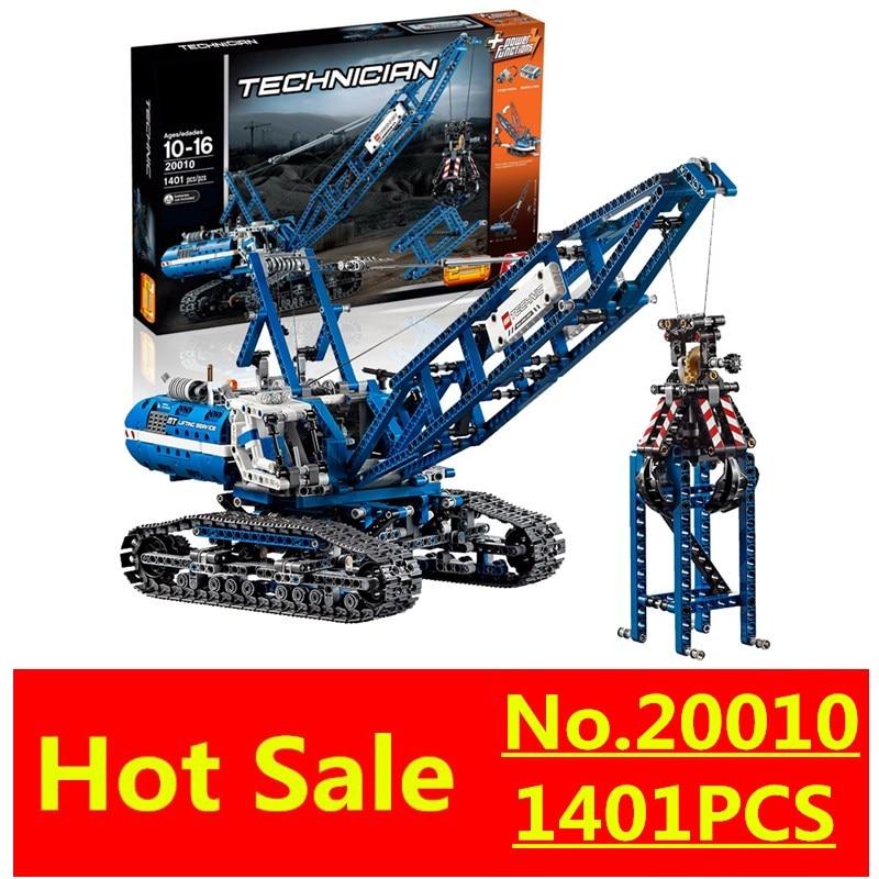 New LEPIN 20010 1401Pcs Technic Series Crawler Crane Model Building Kits Blocks Bricks Children Toys Gift 42042 ювелирное изделие 20010