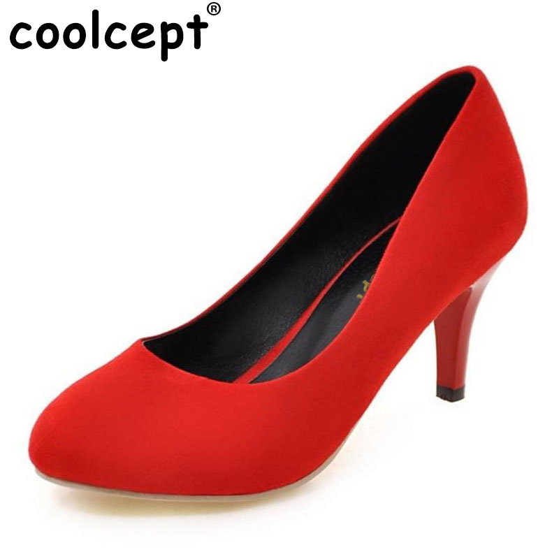 Coolcept Women High Heels Size 34-43 Casual Round Toe High Heels Shoes Slip-on Women Office Ladies Pumps Women Shoes Footwear 2017 shoes women med heels tassel slip on women pumps solid round toe high quality loafers preppy style lady casual shoes 17