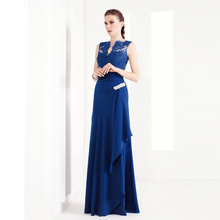 Modest Dark Navy Blue Mother Of Bride Lace Dress Long Gowns Chiffon Formal Party Dress For Women V-neck Half Sheer Back