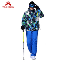 Ski Wear Snowproof And Waterproof Windproof Ski Jacket Men Winter Snowboard Suit WILD SNOW Brand 101