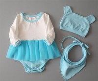 3pcs Set Reborn Babies Doll Clothes Pink Blue Dress Romper For 50 55cm Silicone Reborn Dolls