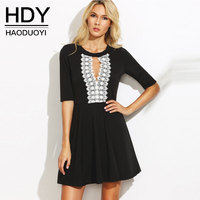 HDY Lady Elegant Dress Black 2017 Summer Autumn Half Sleeve V Neck Lace Up Dresses Crochet