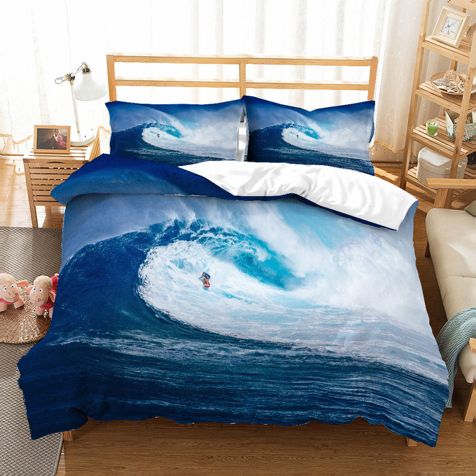 Musolei Ensemble Housse De Couette 3d Spindrift Bleu Mer A Grands Vents Surf Rapide Ensemble De Literie Drap De Lit Double Reine Roi Aliexpress