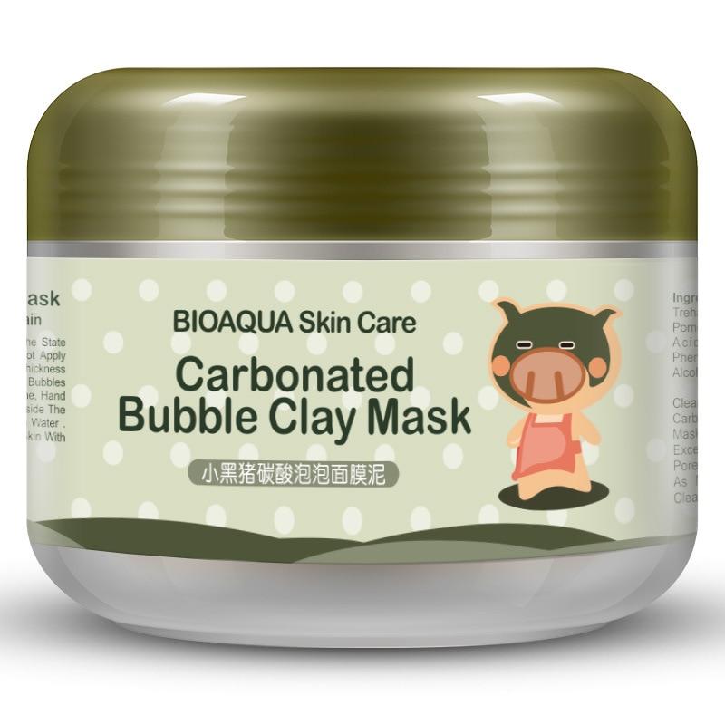 BIOAQUA Brand Skin Care Little Black Pig Oxygen Bubbles Carbonate Mud Mask Whitening Hydrating Moisturizing Facial Masks 100g