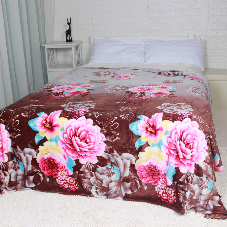 ФОТО Peony Flower Flannel Fleece Blanket for Wedding Soft Warm Throw on the Sofa Bed Vintage Chinese Style Bedding Sheets 200x220cm