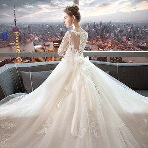 Image 5 - Fansmile luxe longue Train Vestido De Noiva dentelle robe De mariée 2020 personnalisé grande taille robes De mariée robe De mariée FSM 490T