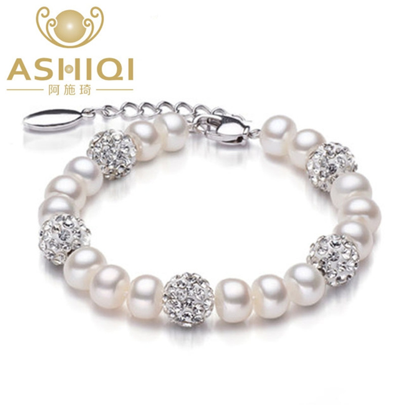 ASHIQI Real  Natural freshwater pearl bracelet Bangles , 925 Sterling Silver beads, chain link bracelets bangles for women