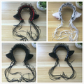Japanese Harajuku Maid Cosplay Headdress Lovely Cat Ear hairpin Ribbon Sweet Lolita Girls maid cos Headband