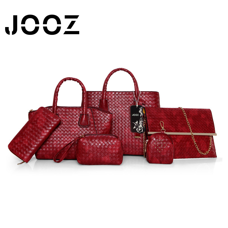 ФОТО JOOZ Brand Luxury Women Pu Leather Knitting Big Casual Handbag 6 Pcs Composite Bag weaving Shoulder Crossbody Bags Purse Clutch
